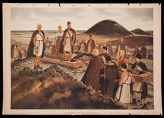 Art by  W.Petersen,1936  The picture shows a Bronze Age (2000-1200 B.C.; Northern Europe since 1800 B.C.) funeral. The ceremony takes place in the early Bronze Age dunes (probably in Jutland, Denmark). The coffins are made of split and carved out tree trunks and decorated with flowers. The men are carrying swords and daggers as well as they attached swords to the coffin serving as grave goods._DSF1032-Edit__924x0__.jpg (924×664)