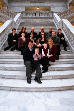 Family portrait of 14 people at the Utah state capitol building Indoor Family Photography, Group Photography, Large Family Photos, Group Photos, Thanksgiving Photos, Capitol Building, Family Portraits, Utah, Photo Shoot