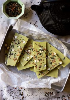 Matcha green tea flavoured raw white chocolate with genamicha | @andwhatelse