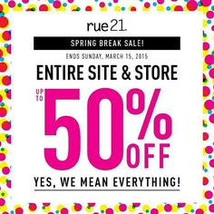 Spring Break Sale! Today through Sunday, March 15 - everything in the store is up to 50% off! Guys and girls fashion tops, denim, shoes and accessories are BOGO 50% off! Girls leggings are $5! All clearance is 50% off the red sticker price! And don't forget to pick up our newest fragrance for guys and girls #rue! All fragrances are 2 for $15 this weekend! You'll also earn a Rue Buck for every $40 you spend that you can redeem in April! The savings is crazy!  Come see us for all your spring…