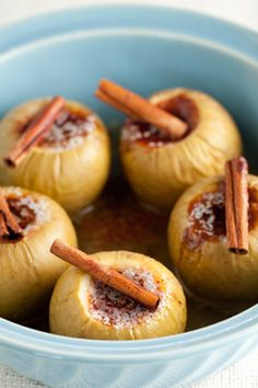 Paula Deen Baked Apples Possibly core all the way through and and wrap bottoms in foil to secure juice? Try Brown Sugar? Fruit Recipes, Apple Recipes, Fall Recipes, Dessert Recipes, Cooking Recipes, Cooking Tips, Vegan Recipes, Just Desserts, Delicious Desserts