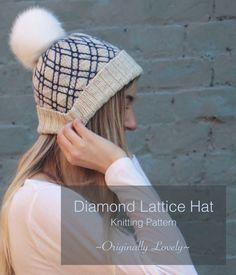Diamond Lattice Hat Knitting Pattern