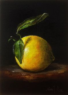 Sold. Lemon with Leaves Original Oil Painting by Nina R Aide Studio. Available #still life#small painting#chiaroscuro