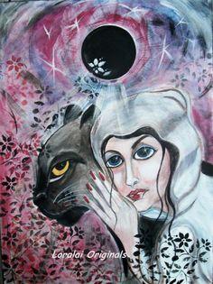 CAT Moon Woman Panther Original Painting BIG Canvas Modern Folk Art Loralai