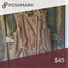 💜final price💜NWOT  distressed leather vest NWOT, faux leather Jackets & Coats Vests