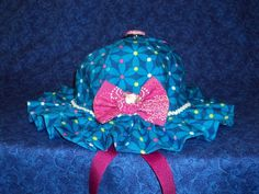 Custom Baby Sunhat in Royal Blue with Pink by AdorableandCute, $20.00