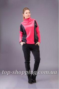 Велюровый женский спортивный костюм двухцветный 01468