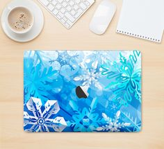 "The Winter Abstract Blue Skin Kit for the 12"" Apple MacBook from DesignSkinz"