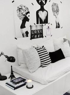 ⚫️ black & white room / quarto preto e branco ⚫️