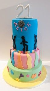 Gluten Free Disco cake with one tier as a double barrel