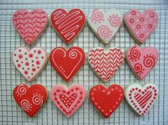 Heart Cookies - really love cookie three in row two. White and red feathering.