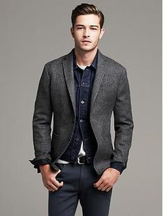 Heritage Gray Herringbone Wool Blazer