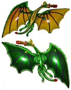 "Amazon.com: 36"" Green Dragon Balloon Party Favor Anti-Gravity Hovering Flying Floating String-less Toy: Toys & Games"