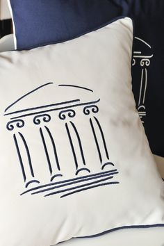 ACROPOLIS embroidery pillows  Dark blue  Off by letsdecorateonline, $29.50