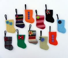Advent Calendar -Rescued Wool Mini Stocking Ornaments