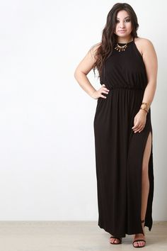 Ruched Waist Side Slit Maxi Dress (Curvy Fit) Plus Size Maxi Dresses a258ea3453