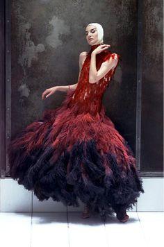 Mc Queen:  Aus rotgefärbten Straußenfedern und Objektträgern eines Mikroskops besteht dieses Kleid