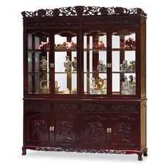 72in Rosewood French Queen Ann Grape Motif China Cabinet - Constructed from solid rosewood, this grand curio cabinet exhibits your treasured collectibles to the best effect with museum quality lighting and mirror. Hand-carved grape motif symbolizes abundance and prosperity.