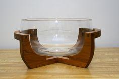 Vintage Mid Century Gailstyn-Sutton Punch Bowl w/ Teak Stand