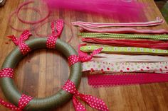 DIY : Ribbon Wreath Materials Needed: Styrofoam wreath, any size. (I used a small wreath so it would fit on my office door) Multiple patte. Fabric Wreath, Tulle Wreath, Mesh Wreaths, Burlap Wreaths, Yarn Wreaths, Floral Wreaths, Wreath Crafts, Diy Wreath, Small Wreath