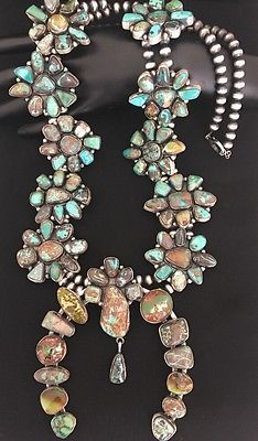 Native-American-Sterling-Silver-Turquoise-Squash-Blossom-Necklace-Earrings