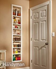 Use this project for built-in shelves to unlock hidden storage space between the studs in your walls. Install a single, open box of shelves, or install two boxes and add a set of glass doors. Maybe for storage in kitchen and can cover with Ikea panels? Built In Shelves, Glass Shelves, Built Ins, Build Shelves, Narrow Shelves, Sliding Shelves, Box Shelves, In Wall Shelves, Floating Shelves