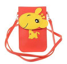 KISS GOLD(TM) Fresh Color Super Cute 3D Animal Pattern Mini Shoulder Bag Cellphone Pouch (Orange-Horse)