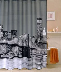 12-Hooks-Gray-New-York-City-Night-Picture-Bathroom-Fabric-Shower-Curtain-es140