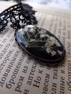 Women's Black Pendant Vintage Elegant Jewelry by DASHARTSTUDIO, $55.00