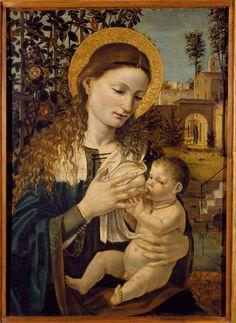 Bergognone (Ambrogio da Fossano), Madonna del latte, 1485 circa, olio su tavola, collezione Lochis
