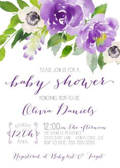floral baby shower invitations purple baby shower garden invitation with flowers find more