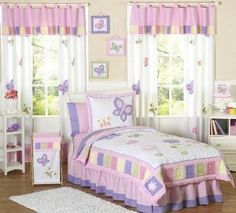 Amazon.com: Pink and Purple Butterfly Collection Childrens Bedding 4pc Twin Set: Home & Kitchen