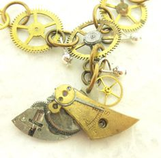 OOAK Steam Punk Pendant Necklace with Silver by BeadsGalore2