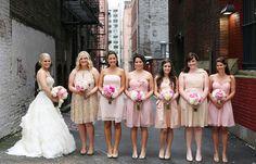 different bridesmaid dresses - similar shades.