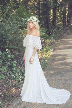 vintage off shoulder boho wedding dress