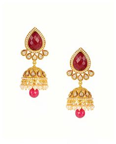 Jhumka Earrings with Ruby Quartz Top