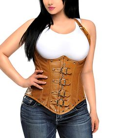 Love this Light Brown Distressed Faux Leather Corset - Women & Plus on #zulily! #zulilyfinds