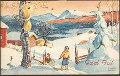 Julekort Otto Mølbach. Barn m/kjelke. Utg Mittet. Stemplet 1938.