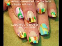 COLORFUL PASTEL GIRAFFE nails! robin moses baby shower