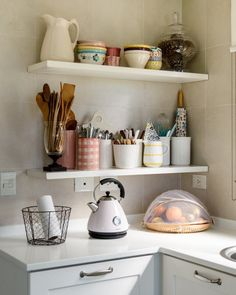 Open Kitchen Shelving Advice | Real folks in real homes share what it's like to have open shelving in their kitchen.