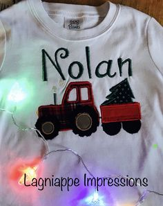 Boys Christmas Shirt Tractor Pulling Christmas Tree in Wagon by LagniappeImpressions on Etsy