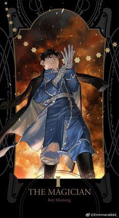 I - The Magician: Roy Mustang, Fullmetal Alchemist Brotherhood Tarot Cards Fullmetal Alchemist Brotherhood, Fullmetal Alchemist Mustang, Fullmetal Alchemist Alphonse, Full Metal Alchemist, Der Alchemist, Manga Anime, Comic Manga, Fanarts Anime, Anime Art
