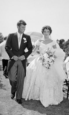 JACKIE AND JOHN F. KENNEDY: When Jacqueline Bouvier wed John F. Kennedy, the former U.S. president's father made sure the nuptials were a sign of the family's high social standing and instructed his son's bride to wear a lavish gown. The First Lady famously chose a voluminous ivory silk taffeta dress by designer Ann Lowe. With more than 900 guests in attendance – including diplomats, society ladies and celebrities – the Sept. 1953 wedding made national news and is largely considered to be…