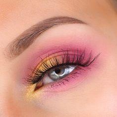 Pink yellow eyeshadow