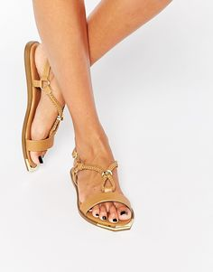ALDO Venus Camel Braided Metal Detail Flat Shoes