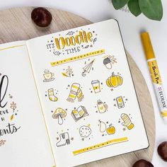 Looking to decorate your bujo or need a drawing tutorial? Check out these awesome bullet journal doodle ideas next time you're setting up a new page! Bullet Journal Inspo, Bullet Journal 2019, Bullet Journal Doodles Ideas, Autumn Bullet Journal, Foto Doodle, Doodle Art, Autumn Doodles, Journal Aesthetic, Cute Doodles
