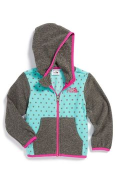 The North Face 'Glacier' Full Zip Fleece Hoodie (Baby Girls) available at #Nordstrom