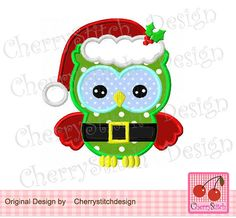Christmas owl 05 Christmas Digital Machine by CherryStitchDesign, $2.99