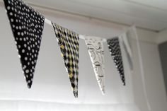 Black and white bunting for kids room. Bunting, Kids Room, Black And White, Garlands, Kidsroom, Black White, Buntings, Kid Rooms, Black N White