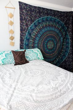 Bedroom Goals:sparkles::heart_eyes: Lady Scorpio Duvet, Tapestries, Diamond Perspective Wall Hanging, Pillow Covers & many more from Lady Scorpio ☽ ✩ Save 25% off all orders with code PINTERESTXO at checkout   Bohemian Boho Wall Hanging Tapestry Pillow Covers by Lady Scorpio   Shop Now LadyScorpio101.com     @LadyScorpio101   Photography by @Luna8lue